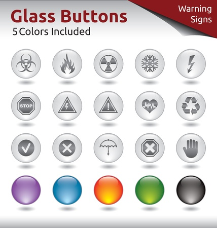 Glass Buttons for Web Usage, Warning Signs, 5 Color Variations Included