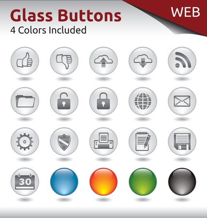 Glass Buttons for Web Usage, 4 Color Variations Included Stock Vector - 21134434