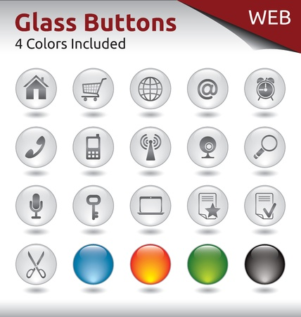 Glass Buttons for Web Usage, 4 Color Variations Included Vector