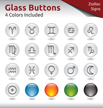 Glass Buttons for Web Usage, Signs of the Zodiac, 4 Color Variations Included Vector