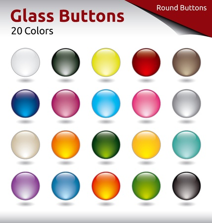 Round Glass Buttons in 20 Color Variations Illustration