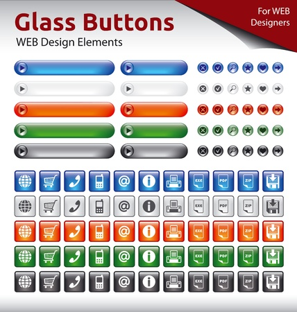 Glass Buttons - WEB Design Elements - 5 Color Variations
