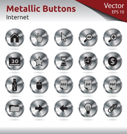 Set of Metallic Buttons for Web, Internet