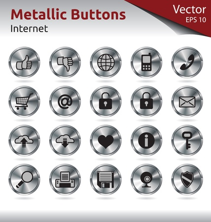 save button: Set of Metallic Buttons for Web, Internet