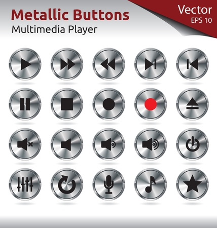 stop button: Set of Metallic Buttons for Multimedia Players, Web, Internet Illustration