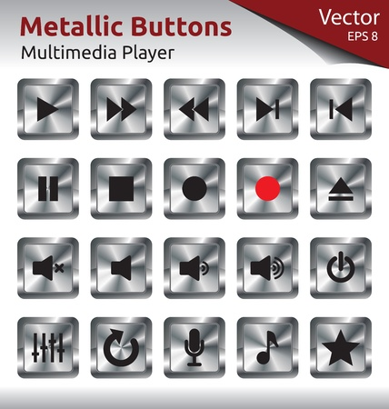 Set of Metallic Buttons for Multimedia Players, Web, Internet Illustration