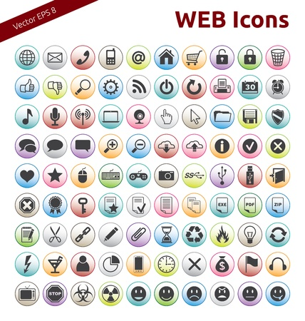 90 Icons for Web, Internet, Design, Social Networks Illustration
