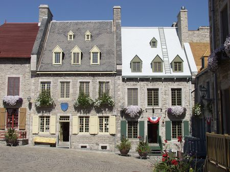 Traditional stone houses in the of Old Quebec City, Quebec, Canada.