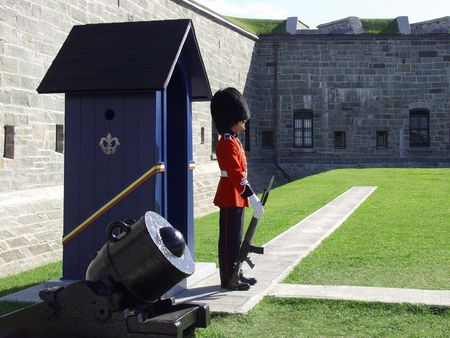 pomp: A member of the Canadian Royal 22nd Regiment stands guard at the gates to the Citadel in Old Quebec City, Quebec, Canada.