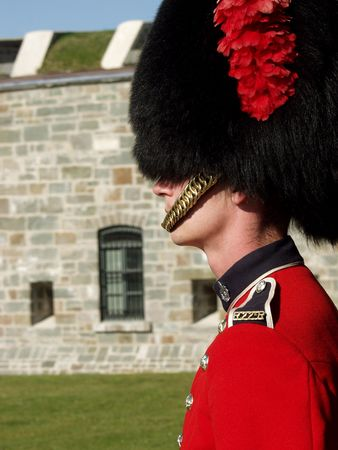 regiment: A member of the Canadian Royal 22nd Regiment stands guard at the gates to the Citadel in Old Quebec City, Quebec, Canada.