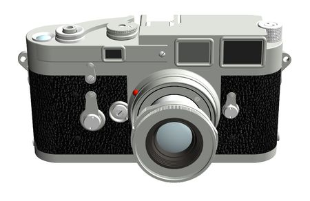 Three dimensional rendering of the front of a rangefinder camera with a 50mm lens. Stock Photo