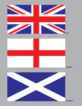 The 3 flags of the United Kingdom drawn in CMYK and placed on individual layers. Stock Vector - 571067