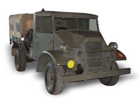 A WWII truck used by the Canadian Army. (This JPEG file includes a clipping path to isolate the vehicle and remove the shadow.) Stock Photo