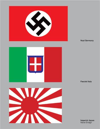 axis: Las 3 banderas de las Potencias del Eje dibujado en CMYK y se colocan en capas individuales.  Vectores