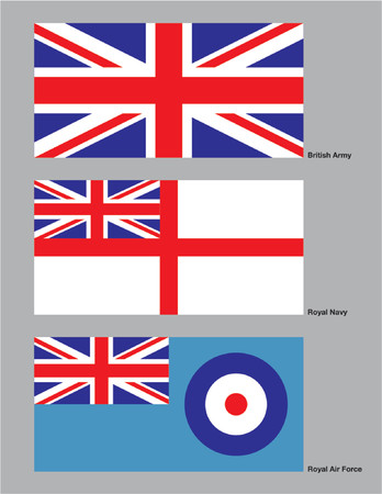 The 3 flags of the British military drawn in CMYK and placed on individual layers. Stock Vector - 592010