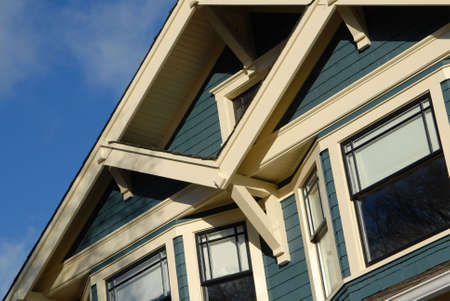neighbour: Detail of Craftsman Style house in autumn. Stock Photo