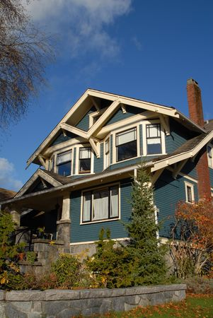 pitched roof: A Craftsman Style house in autumn.