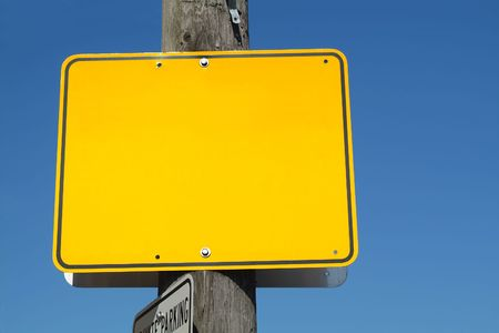 A blank yellow street sign. Stock Photo