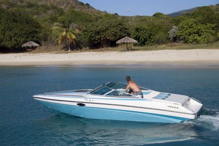 A speedboat in the Caribbean. Stock Photo