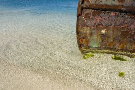 rusting: A beached tugboat rusting in the Caribbean.