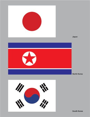 The flags of Japan, North Korea, and South Korea. Drawn in CMYK and placed on individual layers.