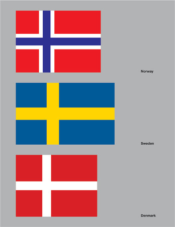The flags of Norway, Sweden, and Denmark. Drawn in CMYK and placed on individual layers. Vector