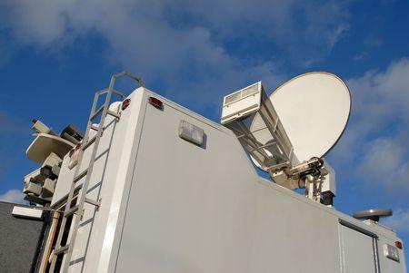 journal t�l�vis�: Le sommet de l'Am�rique du Nord news TV camion. Banque d'images