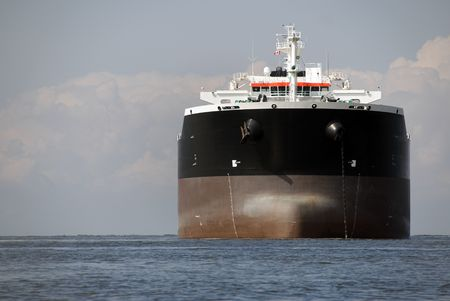 superstructure: An empty freighter anchored in Canadian waters.  Stock Photo