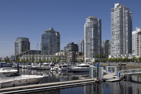 A marina in Yaletown, Vancouver, BC, Canada.