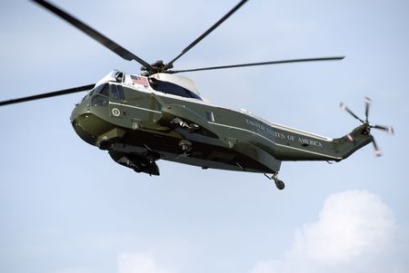 presidential: The primary US presidential helicopter, flying over Washington, DC. Stock Photo