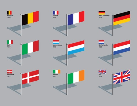 The flags of the first nine countries of the EU (Belgium, France, West Germany, Italy, Luxembourg, Netherlands, Denmark, Ireland, and UK), with the year they joined. Drawn in CMYK and placed on individual layers. Illustration