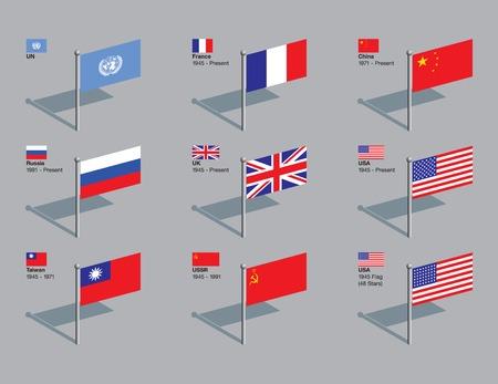 estados unidos bandera: Las banderas de los cinco miembros permanentes actuales del Consejo de Seguridad de la ONU (Francia, China, Rusia, Reino Unido y los EE.UU.), adem�s de ex miembros de Taiw�n y la URSS, los EE.UU. y la bandera de 1945. Fechas de la composici�n. CMYK en capas individuales.