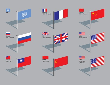 The flags of the five current permanent members of the UN Security Council (France, China, Russia, UK, and the USA), plus former members Taiwan and the USSR, and the US flag of 1945. Dates of membership included. CMYK on individual layers. Vector