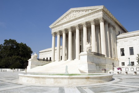 supreme court: The front of the US Supreme Court in Washington, DC. Stock Photo