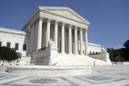 The front of the US Supreme Court in Washington, DC. Stock Photo