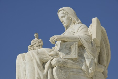 The statue called Contemplation of Justice at the entrance to the US Supreme Court in Washington, DC.