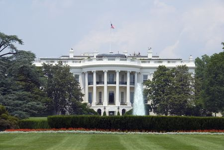 The south face of the White House in Washington on a hot and hazy summer afternoon. Stock Photo