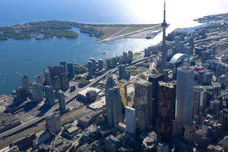 The towers of downtown Toronto, Canada, seen from just above Yonge Street. Stock Photo