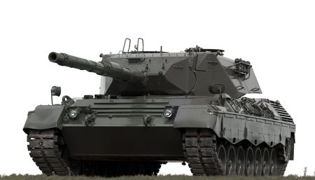 unstoppable: A European-built main battle tank on a white background.