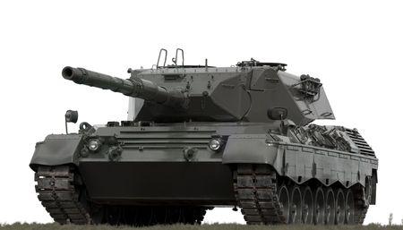 battle tank: A European-built main battle tank on a white background.