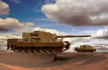 European-built main battle tanks preparing to engage the enemy in a desert.