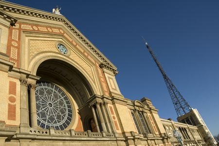 great hall: The facade of the Great Hall at Alexandra Palace in North London, with the BBC antenna visible on the right.
