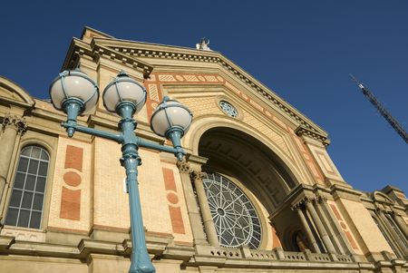 alexandra: A detail of the facade of the Great Hall at Alexandra Palace in North London, with part of the BBC antenna visible on the right. Stock Photo