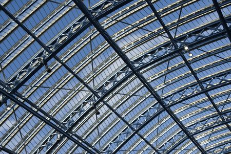 eurostar: A detail of the glass roof at the new St Pancras International railway station in London.