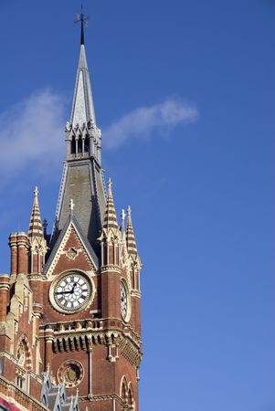 pancras: The clock tower at the southeast corner of St Pancras International railway station in London.