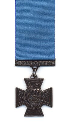 royal air force: A British Victoria Cross with a blue ribbon. Prior to 1918 medals issued to the Royal Navy were suspended from a blue ribbon. With the creation of the Royal Air Force the crimson ribbon became standard.