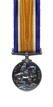 awarded: The reverse of a British 1914 - 18 War Medal suspended from a pure silk ribbon. Members of the British and Commonwealth Armed Forces were awarded the medal in silver. Bronze versions were issued to Chinese, Maltese, Indian and other native Labour Corps.