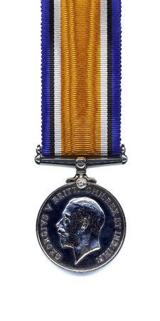The reverse of a British 1914 - 18 War Medal suspended from a pure silk ribbon. Members of the British and Commonwealth Armed Forces were awarded the medal in silver. Bronze versions were issued to Chinese, Maltese, Indian and other native Labour Corps.