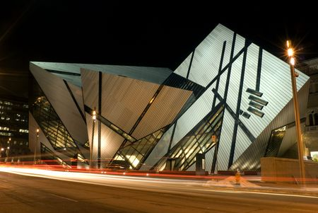 A night shot of the north face of the Royal Ontario Museum in Toronto, Canada,