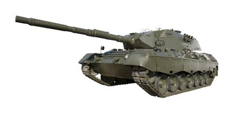 isolation tank: A German-built Leopard main battle tank set on a white background for easy isolation. (The JPEG file also includes a clipping path to isolate the tank.) Stock Photo